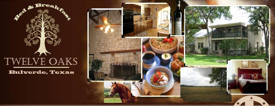 Twelve Oaks Bed and Breakfast in Texas Hill Country. Best Bed and Breakfast with family vacation packages, family vacation ideas, and honeymoon suites. A great outdoor wedding venue near San Antonio and New Braunfels with garden and gazebo.